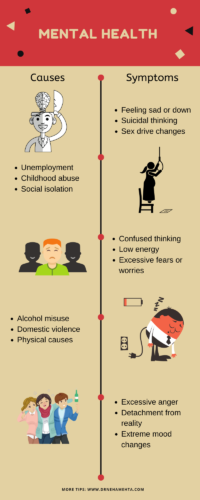 Infographic explaining main causes and symptoms of mental health disorder 1